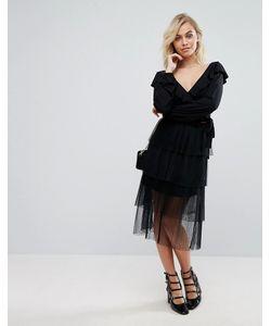 Fashion Union | Ярусная Юбка Миди Из Тюля