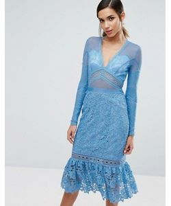 THREE FLOOR | Lace Midi Dress With Frill Hem