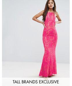 Jarlo Tall | Кружевное Платье Макси С Высоким Воротом