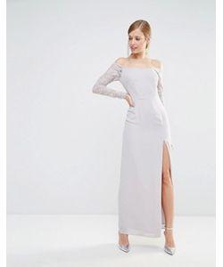 Elise Ryan   Платье Макси С Открытыми Плечами И Кружевными Рукавами