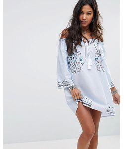 boohoo | Свободное Платье С Открытыми Плечами И Вышивкой