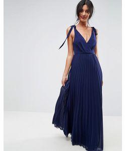 Asos | Платье Макси С Завязками На Плечах И Плиссировкой