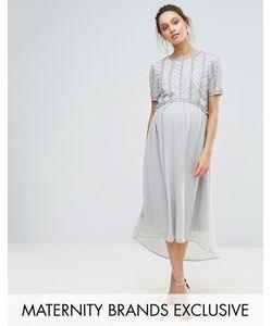 Maya Maternity | Платье Миди Асимметричной Длины С Декорированным Лифом