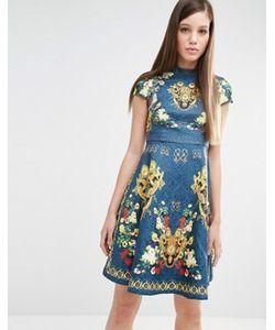 Comino Couture | Короткое Приталенное Платье С Принтом И Заклепками