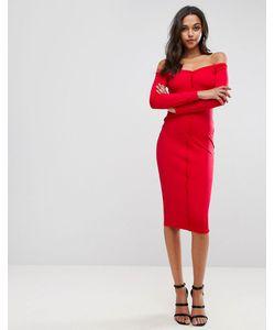 Asos | Облегающее Платье Миди С Вырезом Сердечком И Планкой На Пуговицах