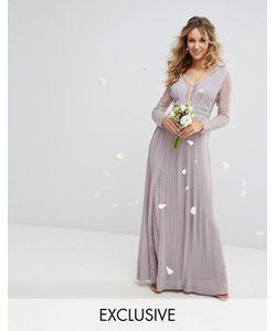 TFNC | Плиссированное Платье Макси С Длинными Рукавами И Кружевом Wedding