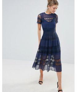 Body Frock | Платье Миди С Короткими Рукавами И Кружевом По Краю Bodyfrock