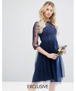 Chi Chi London   Кружевное Платье Миди С Юбкой Из Тюля