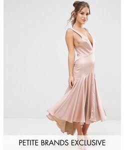 Jarlo Petite | Платье Миди Со Складками И Перекрестной Спинкой
