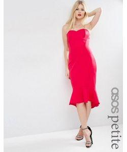 ASOS PETITE | Платье Миди В Стиле Бандо С Баской По Краю