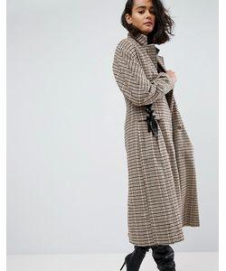 Asos | Пальто В Клетку С Корсетной Отделкой На Талии