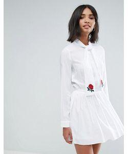 Unique 21 | Платье С Бантом Вышивкой И Юбкой В Складку