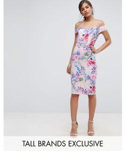 Paper Dolls Tall | Платье-Футляр С Открытыми Плечами И Цветочным Принтом