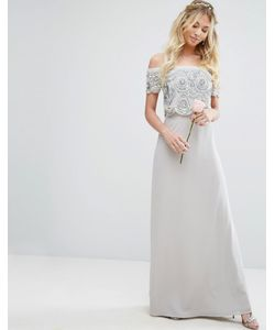 Maya | Bardot Overlay Maxi Dress With Embellishment