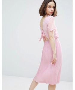 Monki | Платье Миди С Плиссировкой И Бантом На Спине