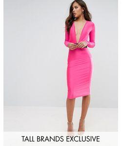NaaNaa Tall | Облегающее Платье Миди С Глубоким Вырезом И Ремнем
