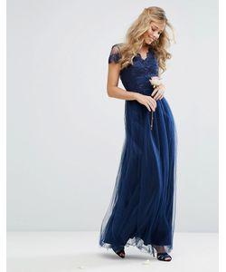 Chi Chi London | Тюлевое Платье Макси С Кружевной Фигурной Отделкой