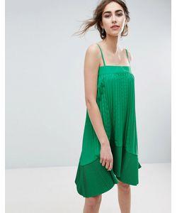 Asos | Плиссированное Платье На Бретельках