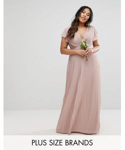 TFNC Plus | Wedding V Front Maxi Dress With Frill Sleeve