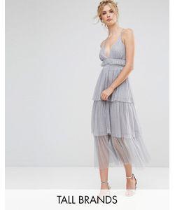 True Decadence Tall | Платье Миди Из Тюля С Ярусными Оборками И Лямками На Спине