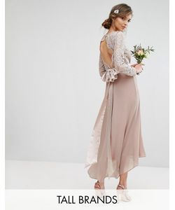 TFNC Tall | Wedding Lace Midi Dress With Bow Back