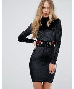Club L | Облегающее Платье Из Бархата С Корсетной Отделкой И Вышивкой