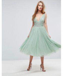 Asos | Декорированное Приталенное Платье Миди Из Тюля