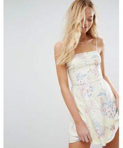 Hollister   Платье На Тонких Бретельках С Принтом И Пуговицами