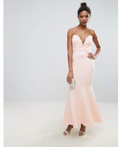Club L | Платье-Бандо Макси С Глубоким Вырезом