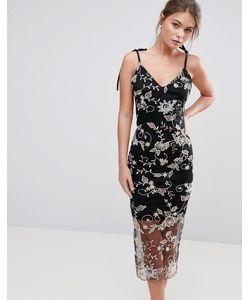 True Violet | Платье Миди На Бретельках С Цветочной Вышивкой