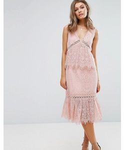 Foxiedox   Кружевное Платье Миди С V-Образным Вырезом И Оборками
