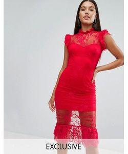 NaaNaa | Кружевное Платье Миди С Оборкой И Высокой Горловиной