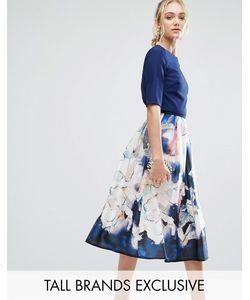 Little Mistress Tall | Приталенное Платье Миди 2 В 1 С Цветочным Принтом На Юбке