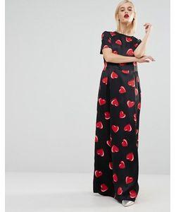 Love Moschino | Черное Тканое Платье Макси С Принтом Сердец