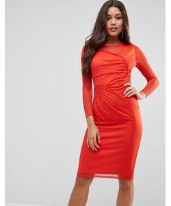 Asos   Платье Миди С Сетчатыми Вставками И Присборенной Отделкой