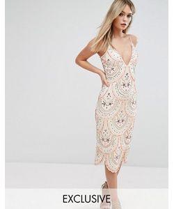 Starlet   Платье Миди На Бретельках И Со Сплошной Декоративной Отделкой