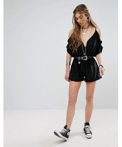 MISSGUIDED | Exposed Shoulder Plunge Playsuit