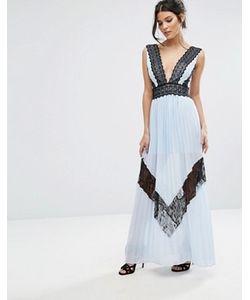 True Decadence | Платье Макси С Кружевной Отделкой И Плиссированой Юбкой