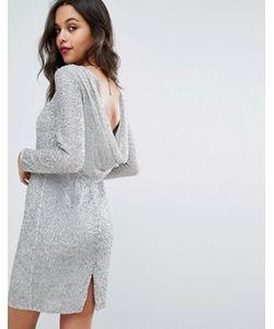 Miss Selfridge | Платье С Отделкой Металлик И Драпированным Вырезом