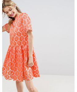 Asos | Короткое Приталенное Платье Из Органзы С Цветочной Вышивкой Salon