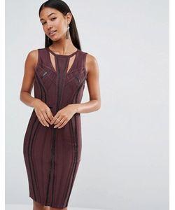 WOW Couture | Бандажное Платье С Отделкой Из Полиуретана