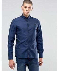 Fred Perry | Темно-Синяя Оксфордская Рубашка Слим С Логотипом