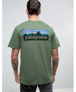 Patagonia | Зеленая Футболка Классического Кроя С Принтом На Спине P-6
