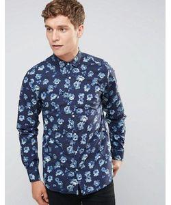 Selected Homme | Темно-Синяя Рубашка Суперузкого Кроя С Цветочным Принтом