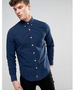 Abercrombie and Fitch | Темно-Синяя Обтягивающая Оксфордская Рубашка С Карманом Abercrombie Fitch