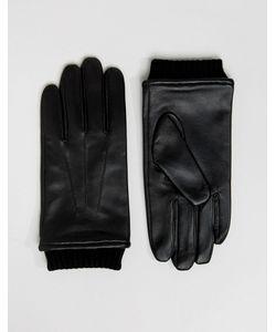 Barney's Originals | Черные Кожаные Перчатки С Манжетами Barneys