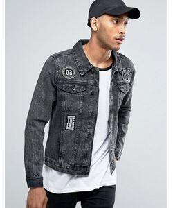 Threadbare | Черная Джинсовая Куртка С Нашивками