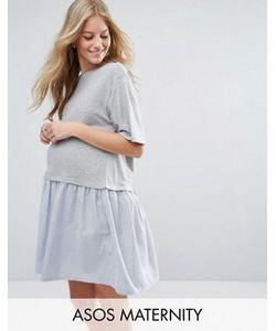 ASOS Maternity | T-Shirt Smock Dress With Woven Frill Hem