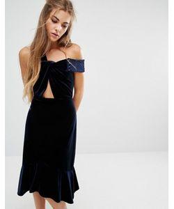 Foxiedox   Бархатное Платье С Открытыми Плечами И Оборкой Margaux