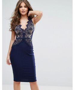 Rare | Платье Миди С Фигурным Кружевом И Глубоким Вырезом London